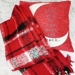 Threshhold|Cozy Flannel Fringe Throw Blanket